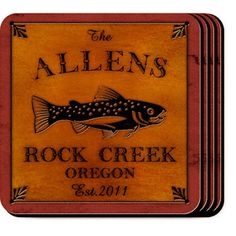 WeddingDepot.com ~ Cabin Series Personalized Coaster Set - Trout ~ Our Trout Cabin Series Coaster Sets are perfect for the cabin on the lake or ideal for the outdoor lover to use in their home year-round.