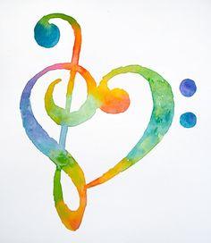 Watercolor treble bass clef heart