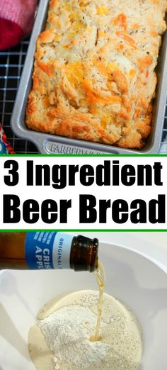 No yeast beer bread recipe with just 3 ingredients, add cheese for tons more flavor. No yeast beer bread recipe with just 3 ingredients, add cheese for tons more flavor. 3 Ingredient Beer Bread Recipe, 3 Ingredient Recipes, Best Bread Recipe, Easy Bread Recipes, Beer Recipes, Banana Bread Recipes, Baking Recipes, Cheese Beer Bread Recipe, Recipes With Bread Cubes