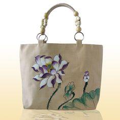Çin ulusal Vintage retro Lotus Baskı omuz çantası Ahşap boncuk el boyama çiçek Pamuk seyahat alışveriş Tote çanta(China (Mainland))