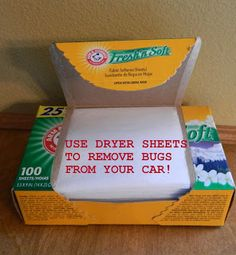 Easily remove those dried on bugs from your car with fabric softener sheets for the dryer!