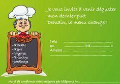 Télécharger la carte d'invitation de départ en retraite de cuisiner - o.k. U X