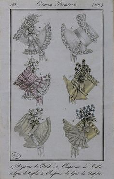 1815 Costume Parisien. 1. Hats of straw. 2. Hats of tulle and silk. 3. Hat of silk.