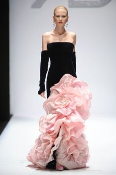 Renato Balestra - pink and black on the runway.