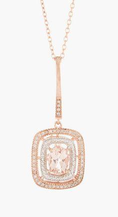 Savvy Cie | White Diamond & Morganite Pendant Necklace