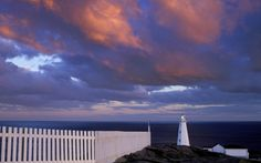newfounland lighthouse canada - point, lighthouse, clouds, fence