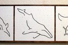 Santa Cruz Theme: Elephant Seal, Sea Otter, Humpback Whale, Banana Slug, Deer - Minimalist Animal Art  Original Drawings on Wood  by TheVegesaur, $60.00