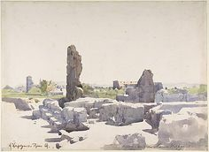View of the Colosseum from the Basilica of Domitian and the Flavian Palace, Rome by Henri-Joseph Harpignies, (French 1819-1916)