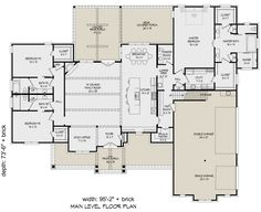 Home Plans Ranch Plan: Square Feet, 3 Bedrooms, Bathrooms - The Rose is a Rose a 4000 Sq Ft House Plans, Lake House Plans, House Plans One Story, Ranch House Plans, Best House Plans, Cabin Plans, House Floor Plans, Ranch Floor Plans, Floor Plan Layout