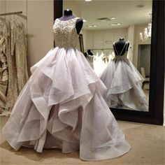 Long Fluffy Custom Unique Party Backless Popular Handmade Prom Dresses, Ball Gown, PD0016