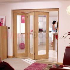 Image of Nuvu Roomfold Pattern 10 Oak 3 Door Set Left - Clear Glass