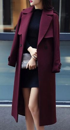 wool coat in wine