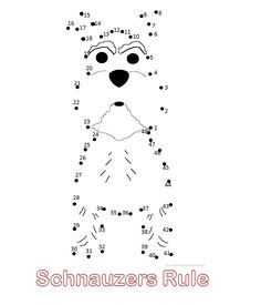 Printable Mini Schnauzer Connect-the-Dots drawing for kids via Schnauzers-Rule.com