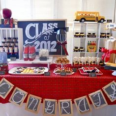 """Con-Graduations!    A fancy chocolate square, small peanut butter cup, sour taffy strings, and a mini M -- all """"glued"""" together with dabs of melted chocolate, make delightful graduation pops. The base is a block of floral styrofoam, wrapped in scrapbook paper and the stick is a lollipop stick"""