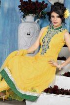 Designer Embroidered Kameez; Mustard Yellow Embroidered Wedding and Festival Net Anarkali Churidar Kameez