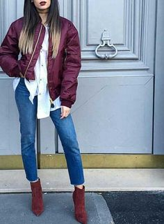 burgundy-bomber-jacket-outfit- Super cute winter outfits for girls