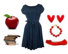 I like putting the red shoes with the blue dress; sweet and interesting.