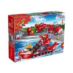 BanBao brandweer auto en boot 8312  Wanneer er branden geblust moeten worden op zee of in de haven komt de blusboot van de BanBao brandweer in actie! Voor reddingsoperaties heeft de brandweer ook de beschikking over een auto met boottrailer erachter.  EUR 16.99  Meer informatie