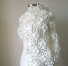 Shawl Wedding Ivory Shawl TRIANGLE FLOWER FLOWERS  by filofashion, $85.00