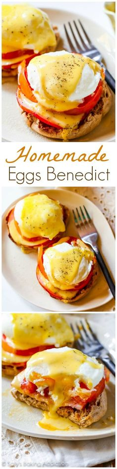 There is nothing quite like Homemade Eggs Benedict with a perfectly poached egg, creamy hollandaise, and crispy Canadian bacon. Recipe on sallysbakingaddic...
