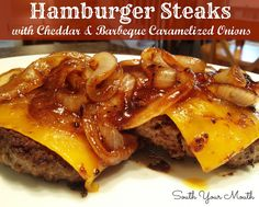South Your Mouth: Hamburger Steaks with Barbeque Caramelized Onions - You could do this with hamburgers on the grill just cook the onions inside and add some Better than Bouillon Beef for flavor. Hamburger Meat Recipes, Hamburger Steaks, Pork Recipes, Cooking Recipes, Recipies, Beef Dishes, Food Dishes, Main Dishes, Great Recipes