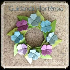 Guirlanda Hortênsia Guirlanda Michel e Hortênsias do Livro Origami em Flor, de Flaviane Koti e Vera Young.