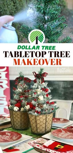 Here's how to turn inexpensive Dollar Tree tabletop Christmas trees into high-end looking holiday centerpieces! #christmastreedecorideas