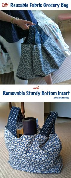 Make a reusable fabric grocery bag with a flat bottom. How to add the solid bottom insert to the Michelle Patterns shopping bag pattern ~ Threading My Way
