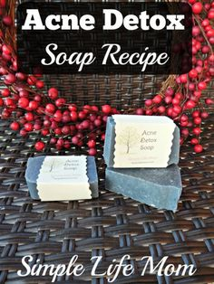 Detox Acne Soap Recipe and Giveaway - a great recipe for acne and cleansing with tea tree essential oil, while detoxing with activated charcoal.