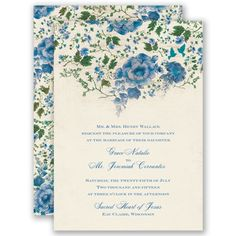 Sweet blue, floral blooms on this wedding invitation create a beautiful border that leads your guest's eyes into the details of your wedding day! #davidsbridal #weddinginvitations #somethingblue #bluewedding