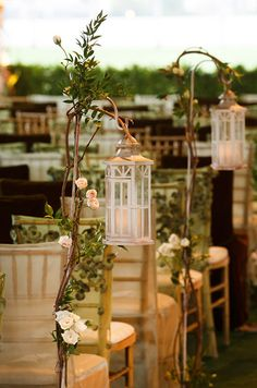 gorgeous hanging lantern wedding aisle