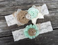Custom Burlap Mint Garter Set
