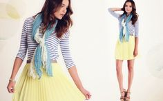 Blue stripes and yellow pleats