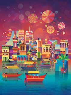 Matt Lyon - Illustration - Time Out Dubai City Illustration, Graphic Design Illustration, Digital Illustration, Affinity Designer, Naive Art, Art Graphique, Graphic Design Inspiration, Belle Photo, Lyon