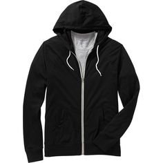 Old Navy Mens Lightweight Zip Front Hoodies ($25) ❤ liked on Polyvore featuring men's fashion, men's clothing, men's hoodies, outerwear, roger hammerstein and black