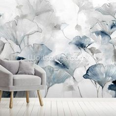 Shop this beautiful Glorious Ginko mural by Carol Robinson. Free delivery to eurozone destinations within 3 to 5 working days. Lotus Flower Wallpaper, Dandelion Wallpaper, Magnolia Wallpaper, Daisy Wallpaper, Field Wallpaper, Sunflower Wallpaper, Wall Wallpaper, Wallpaper Designs, Wallpaper Companies