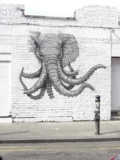 Octo elephant street art Graffiti by kelly street art Charge of the Graffiti Brigade, London art Banksy, Best Graffiti, Street Art Graffiti, Street Mural, Art Et Illustration, Illustrations, Amazing Street Art, Amazing Art, Awesome