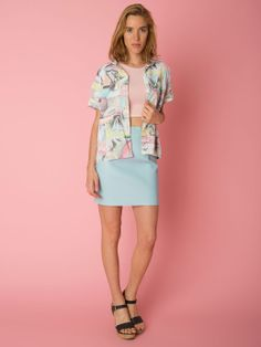 Abstract Print Short-Sleeve Button-Up Shirt. #AmericanApparel