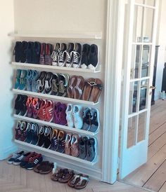zophom Shoe storage ideas, shoe organization for small space, shoe cabinet, cheap storage . Wall Mounted Shoe Storage, Closet Shoe Storage, Diy Shoe Rack, Shoe Racks, Wall Shoe Rack, Bedroom Storage, Diy Rack, Shoe Closet Organization, Closet Shelving