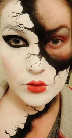 faded mask Halloween cool creepy mysterious pretty face paint doll mask costume girl makeup crazy
