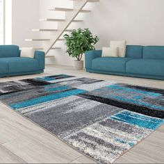 Ebern Designs Croskey Abstract Blue/Gray Area Rug Rug Size: Rectangle x Dark Brown Couch, Teal And Grey, Gray, Area Rug Runners, Indoor Rugs, Living Room Grey, Online Home Decor Stores, Contemporary Decor, Beige Area Rugs