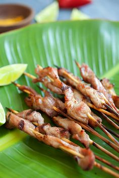 Pork Satay with Sweet Coconut Milk Glaze. These pork satay are yummy and addictive, once you try one, you want more. Learn the easy recipe to make your own Thai satay this summer! http://rasamalaysia.com