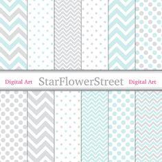 Chevron Baby Polka Dot Aqua Digital Paper by StarFlowerStreetDA, $3.50