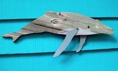 whale wall art reclaimed fence wood