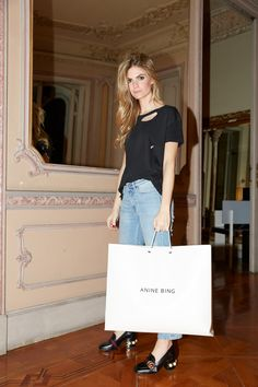 How amazing does PATRICIA SANES look in her ANINE BING distressed t-shirt in black? #aninebing #aninebinggirls