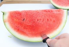 How to Cut a Watermelon into Triangles - Mom 4 Real Cut Watermelon, Triangles, Appetizers, Snacks, Meals, Drink, Mom, Fruit, Recipes