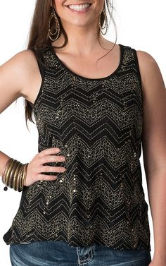Panhandle Slim Women's Black and Gold Chevron Lace with Sequins Sleeveless Fashion Tank Top