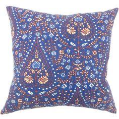 "Jaetyn Ikat 24-inch Down Feather Throw Pillow - Indigo (24"" x 24""), Blue, Size 24 x 24"