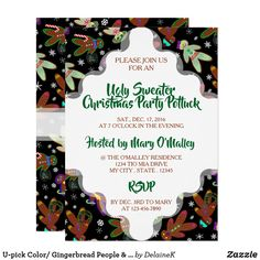 U-pick Color/ Gingerbread People & Snowflakes Invitation Snowflake Invitations, Holiday Party Invitations, Holiday Parties, Holiday Fun, Christmas Holidays, Christmas Gingerbread, Gingerbread Cookies, Gum Drops, Holiday Cookies