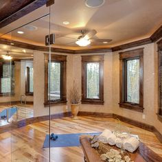 Hickory Floors With dark stained trim. Don't go quite this dark.